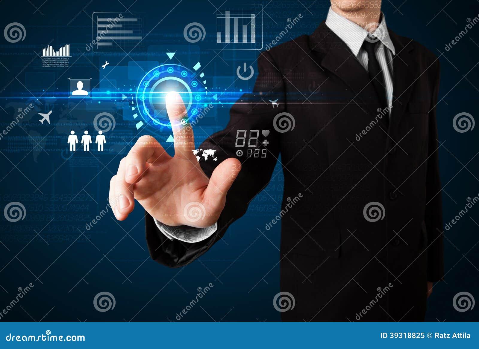 Tecnologia futura commovente di web dell uomo d affari