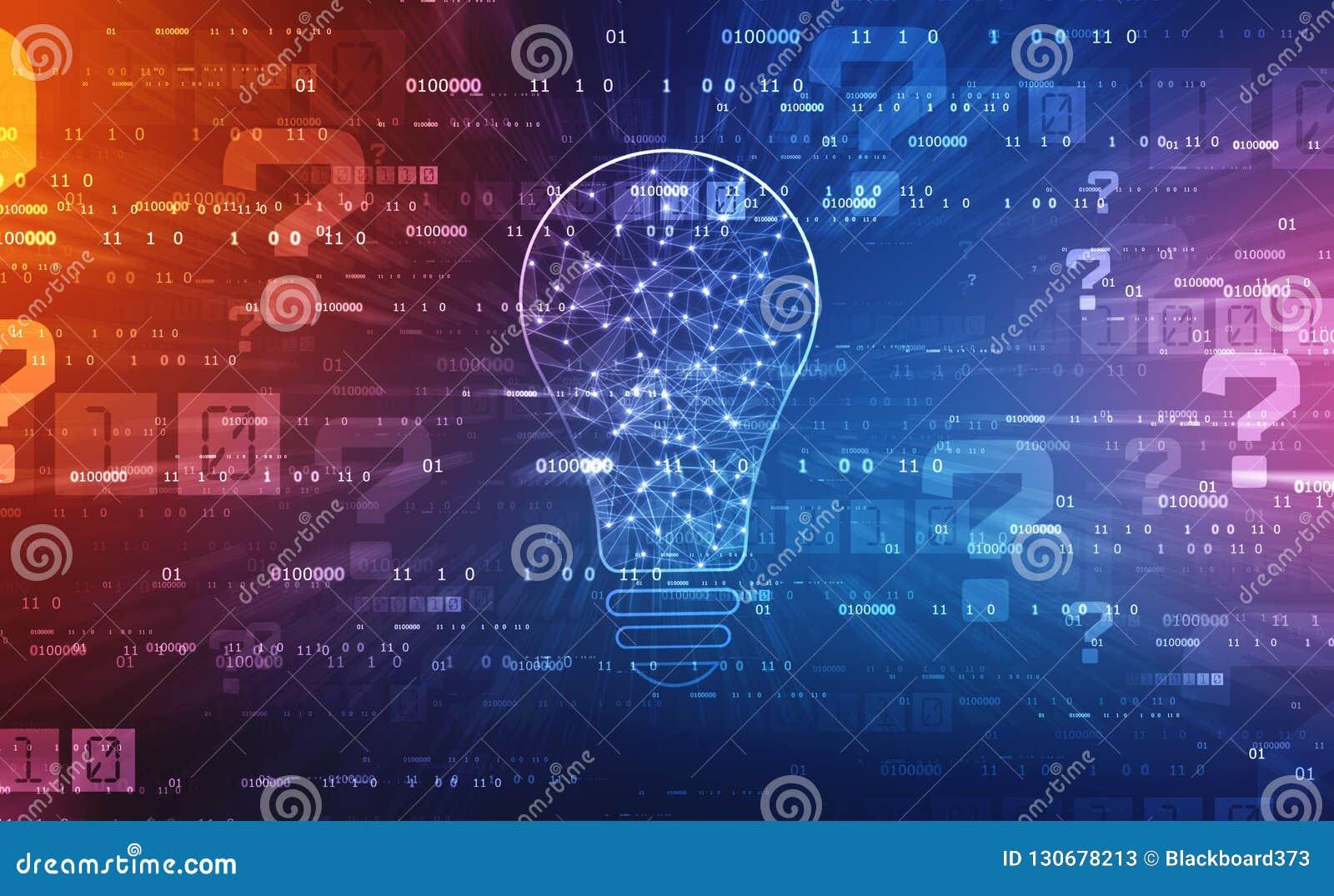 Tecnologia futura della lampadina, fondo dell innovazione, concetto creativo di idea