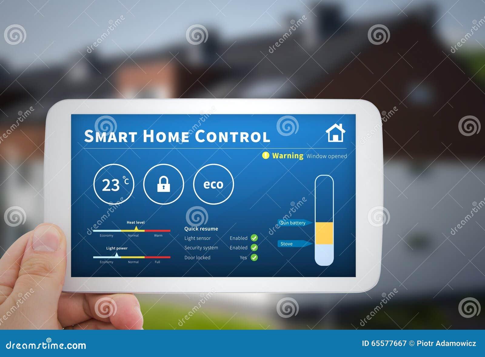 Tecnologia home esperta do controle Sistema remoto da automatização em mobil