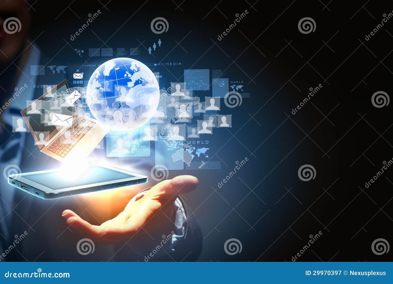Tecnologia sem fios moderna e meios sociais