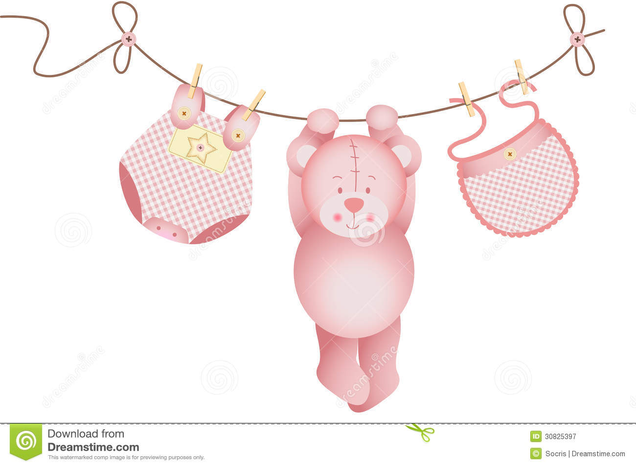 Teddy bear baby girl hanging on a clothesline stock vector for Baby clothesline decoration baby shower