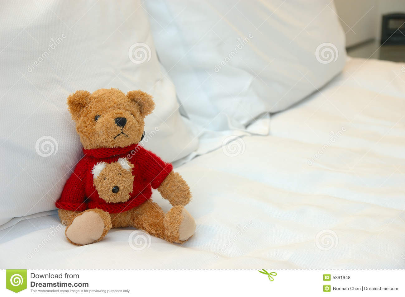 Teddy Bear In Bed Stock Photo Image Of Pillow