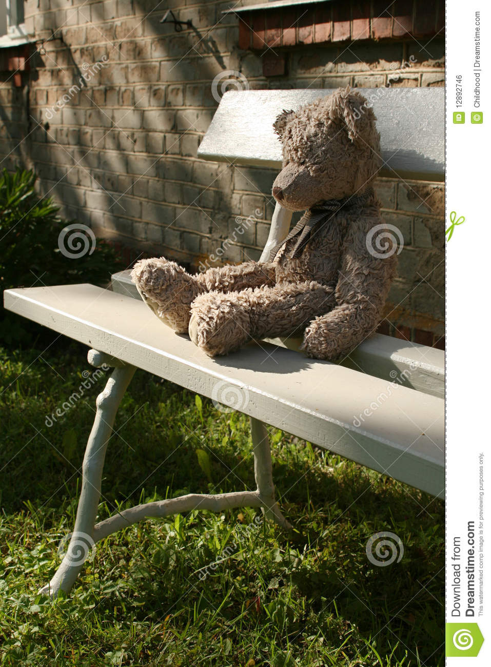 Teddy Bear On Bench Stock Photo Image Of Nature Kind