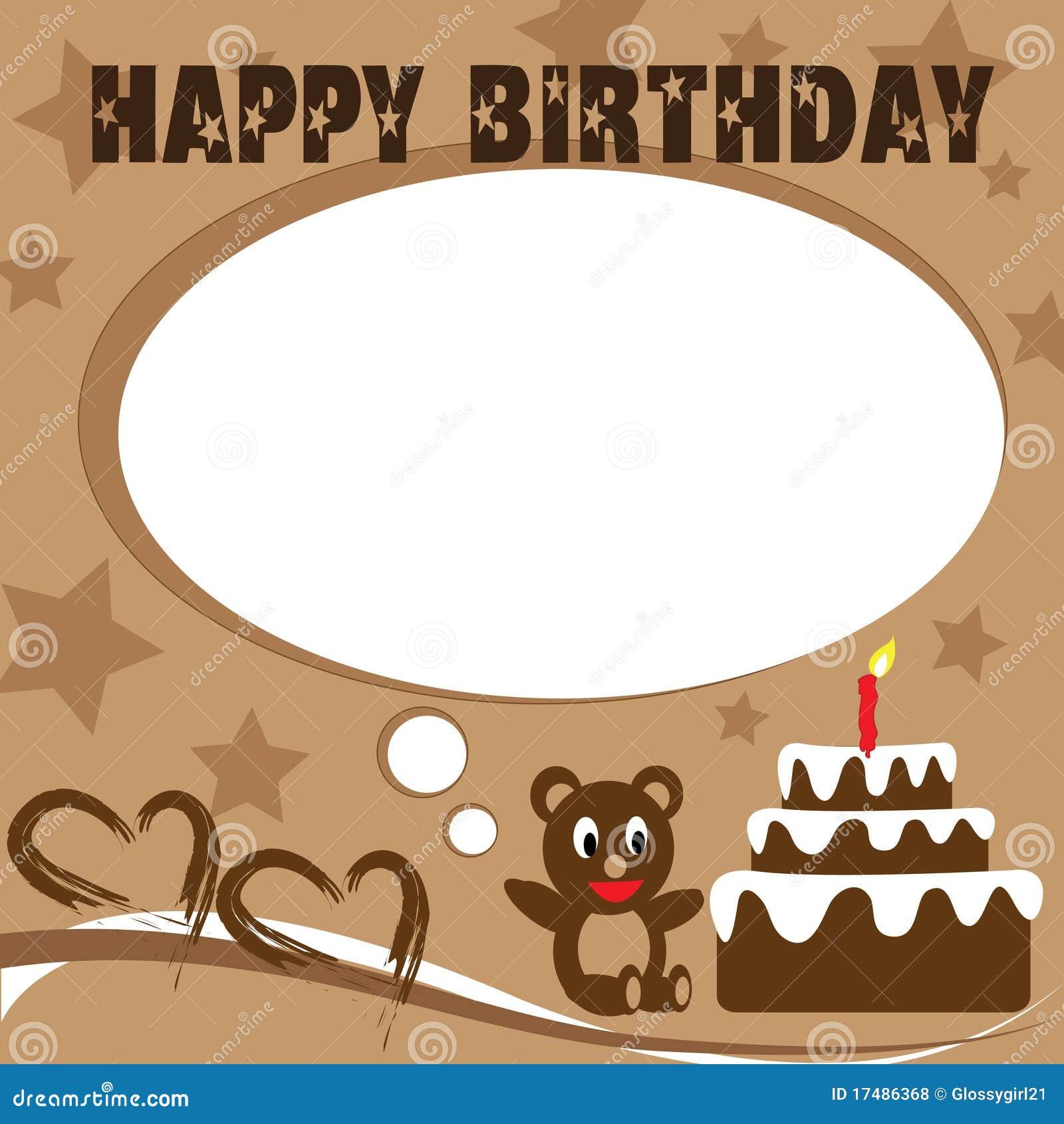 Blue Birthday Card With Teddy Bear Vector Image 74543896 – Birthday Card Bear