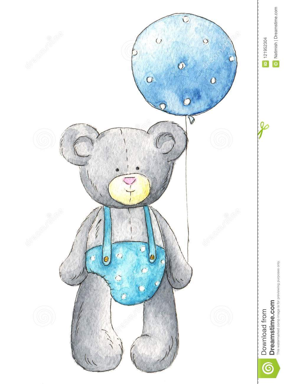 5af9f82a697f Plush Bear In Blue Clothes With Blue Balloon Stock Illustration ...