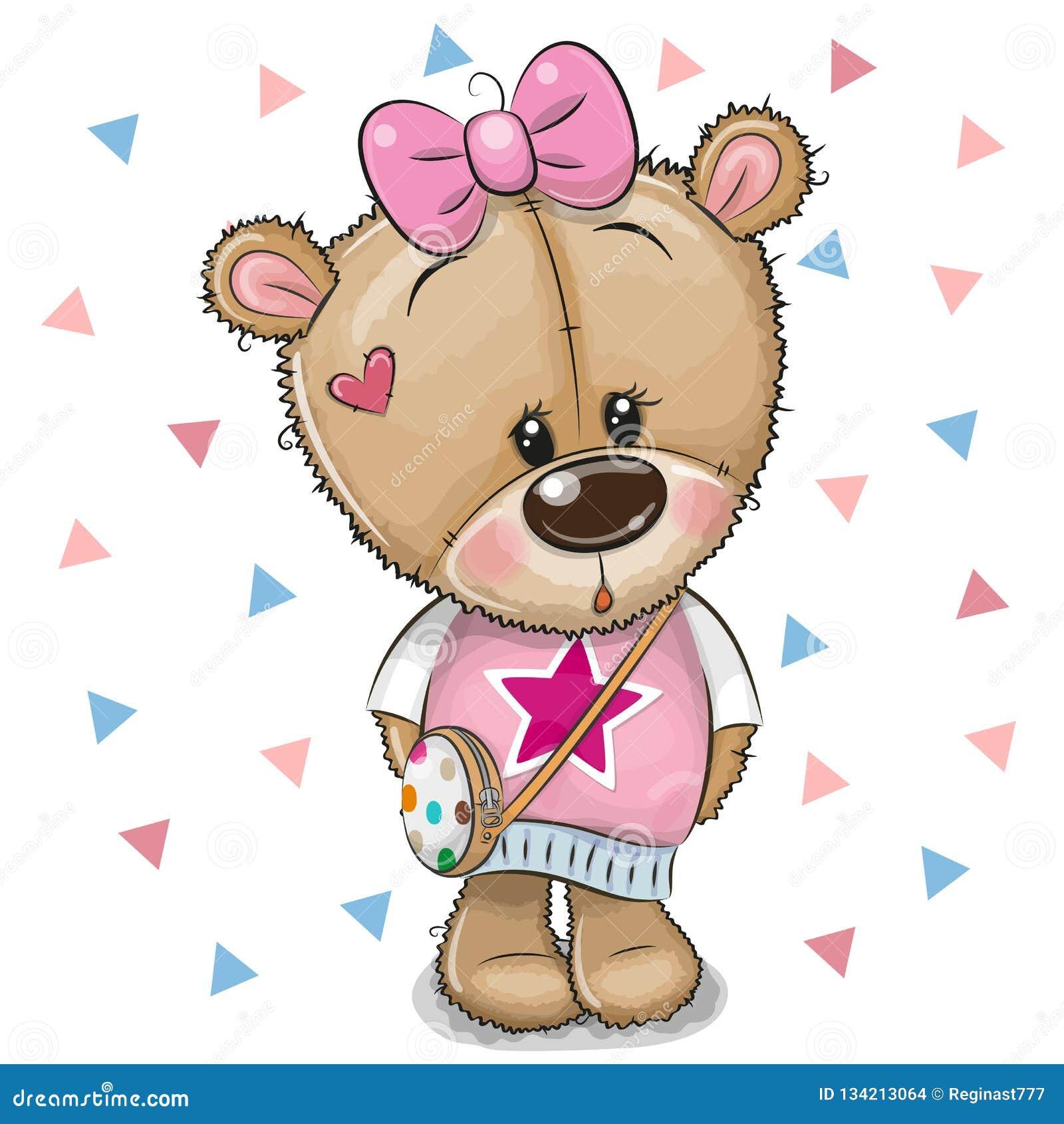Teddy Bear bonito com uma curva em um fundo branco
