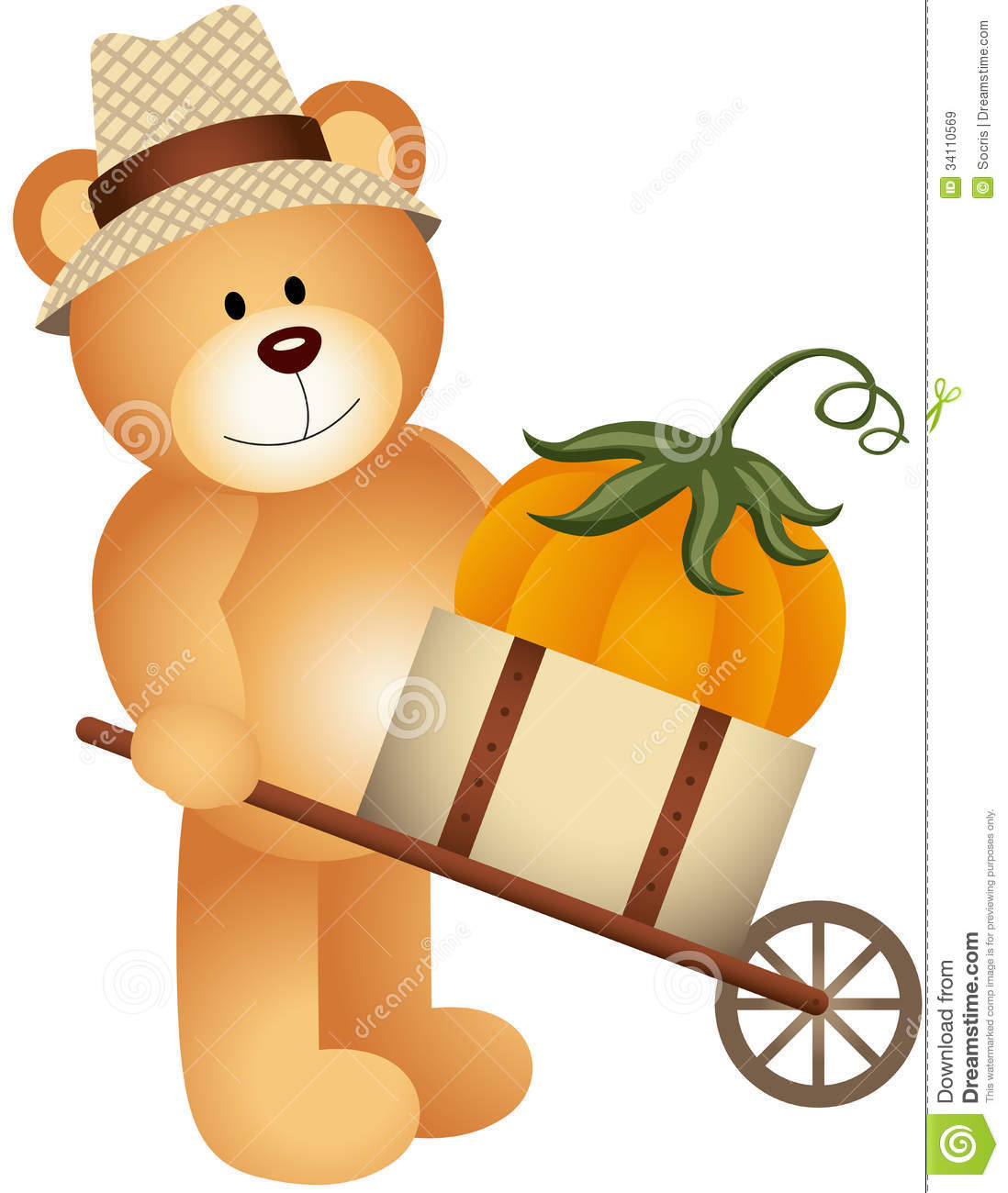 Teddy Bear Carrying Pumpkin In Wooden Cart Stock Vector
