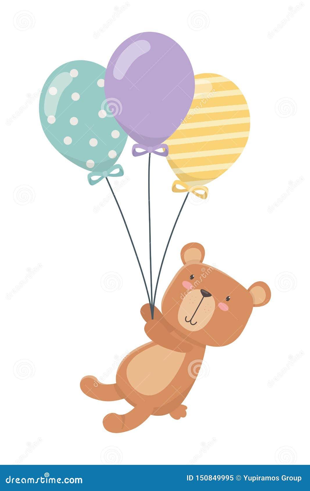 Teddy bear cartoon and balloons design
