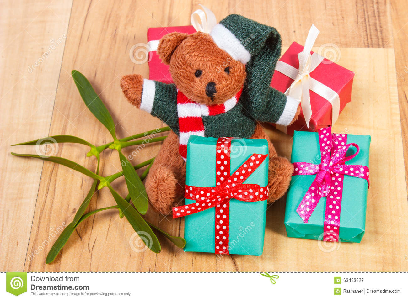 Teddy Bear With Colorful Gifts For Christmas And Mistletoe ... - photo#13