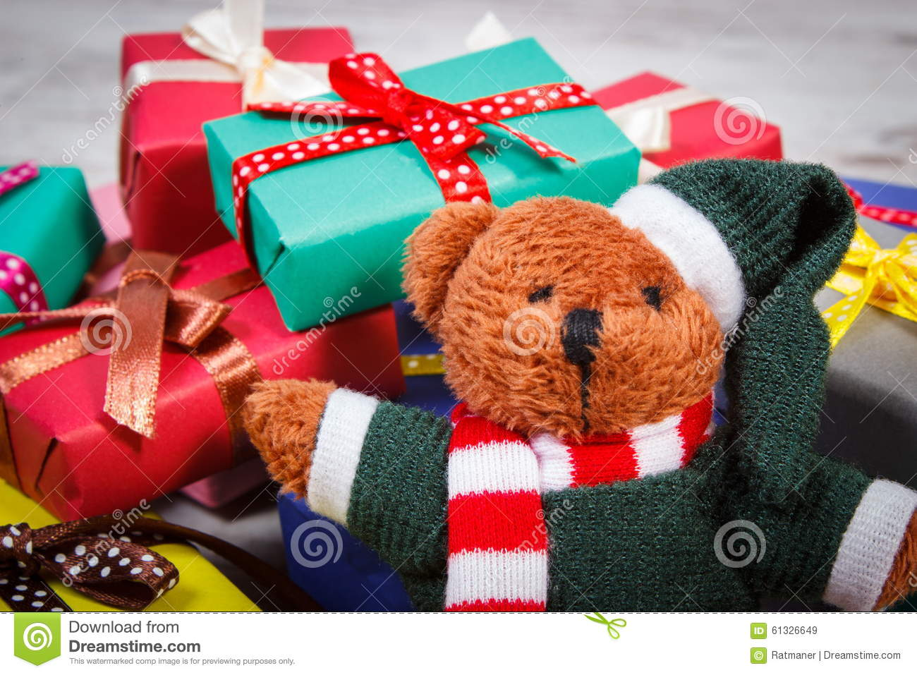 Teddy Bear With Colorful Gifts For Christmas Or Other ... - photo#37