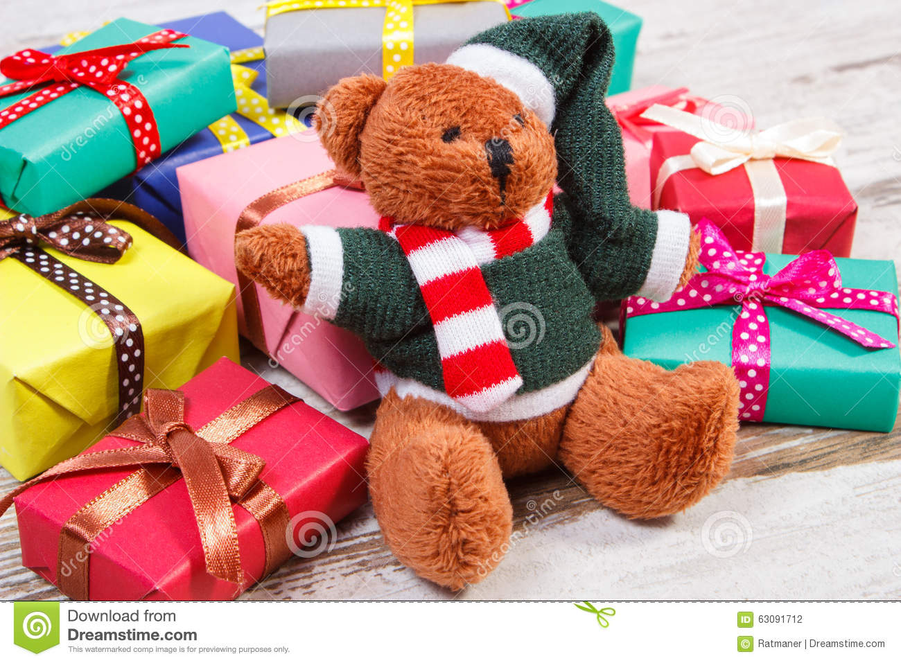 Teddy Bear With Colorful Gifts For Christmas Or Other ... - photo#25