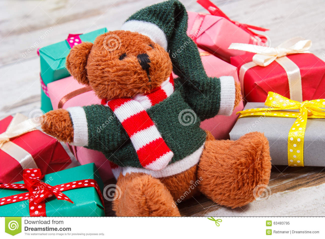 Teddy Bear With Colorful Gifts For Christmas Or Other ... - photo#36