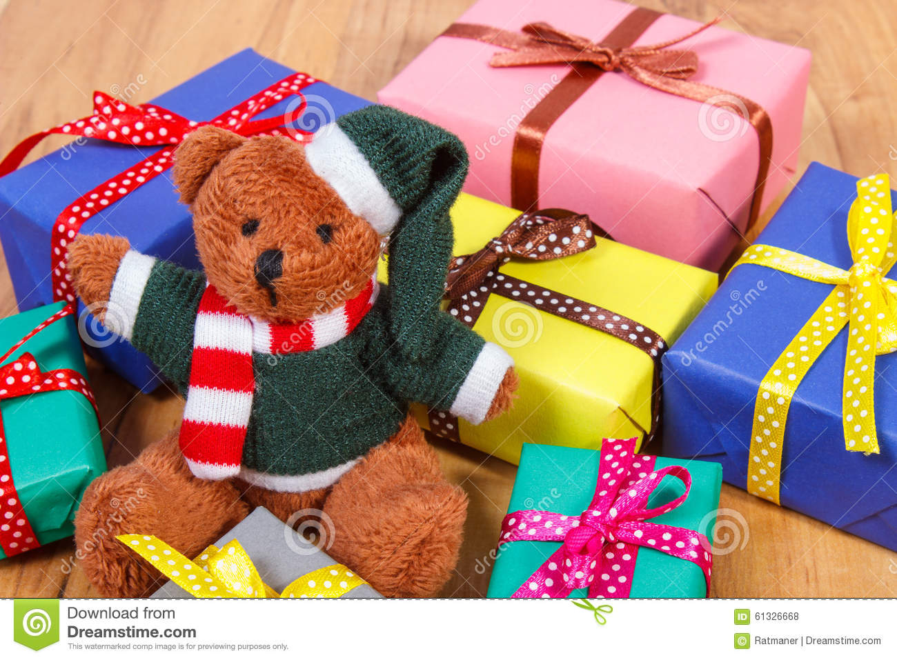 Teddy Bear With Colorful Gifts For Christmas Or Other ... - photo#18