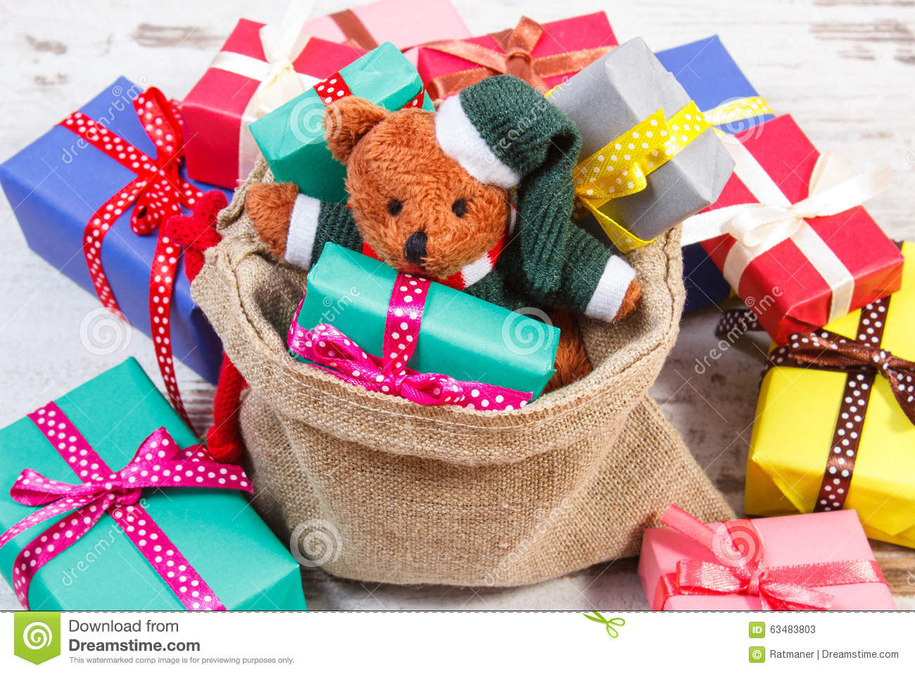 Teddy Bear With Colorful Gifts For Christmas Or Other ... - photo#33