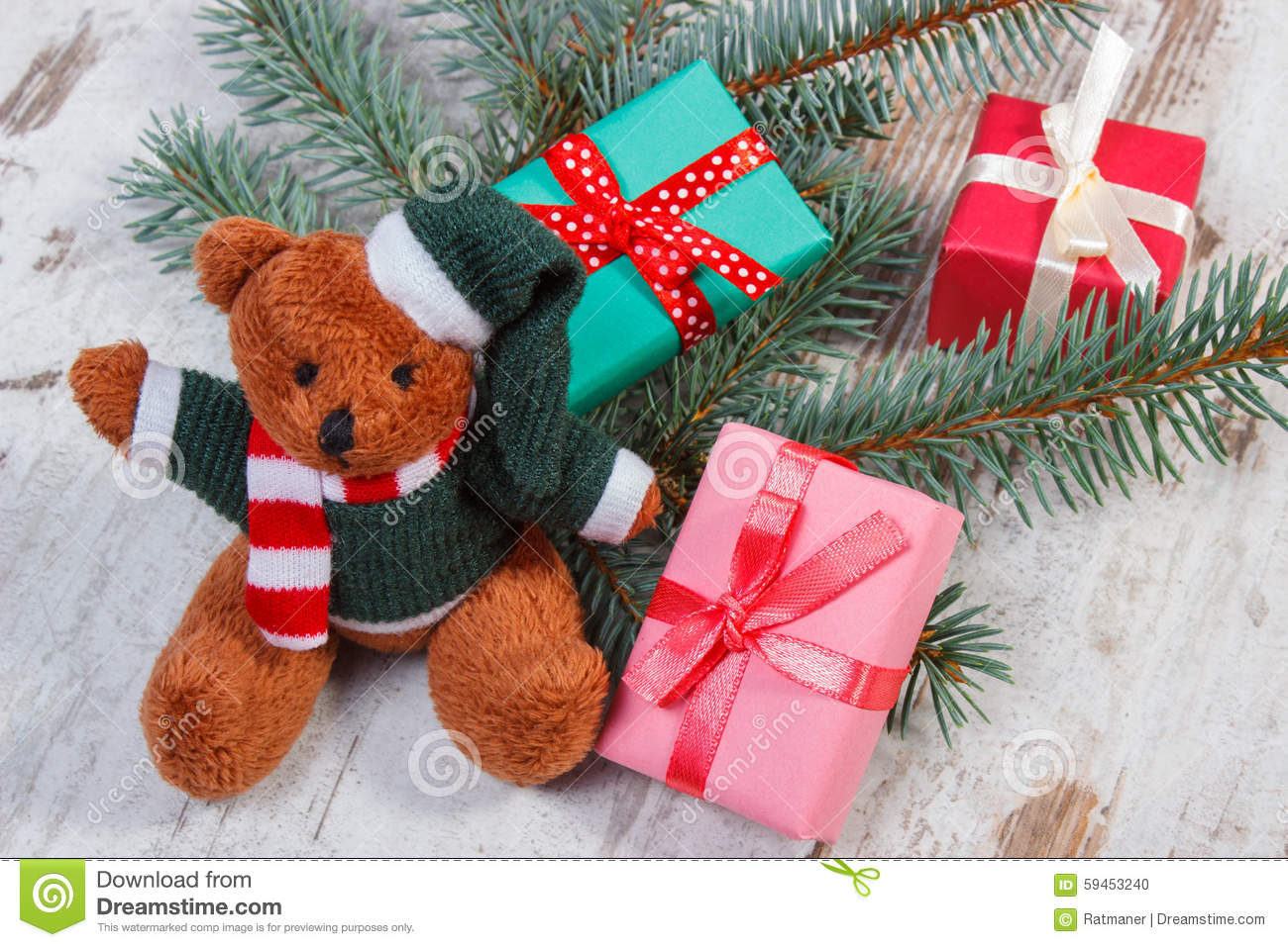 Teddy Bear With Colorful Gifts For Christmas And Spruce ... - photo#45