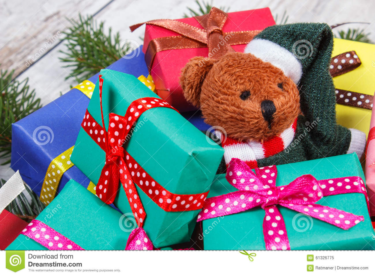 Teddy Bear With Colorful Gifts For Christmas And Spruce ... - photo#28