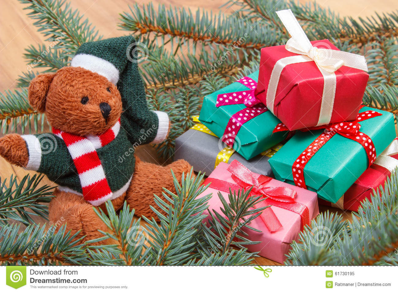 Teddy Bear With Colorful Gifts For Christmas And Spruce ... - photo#42