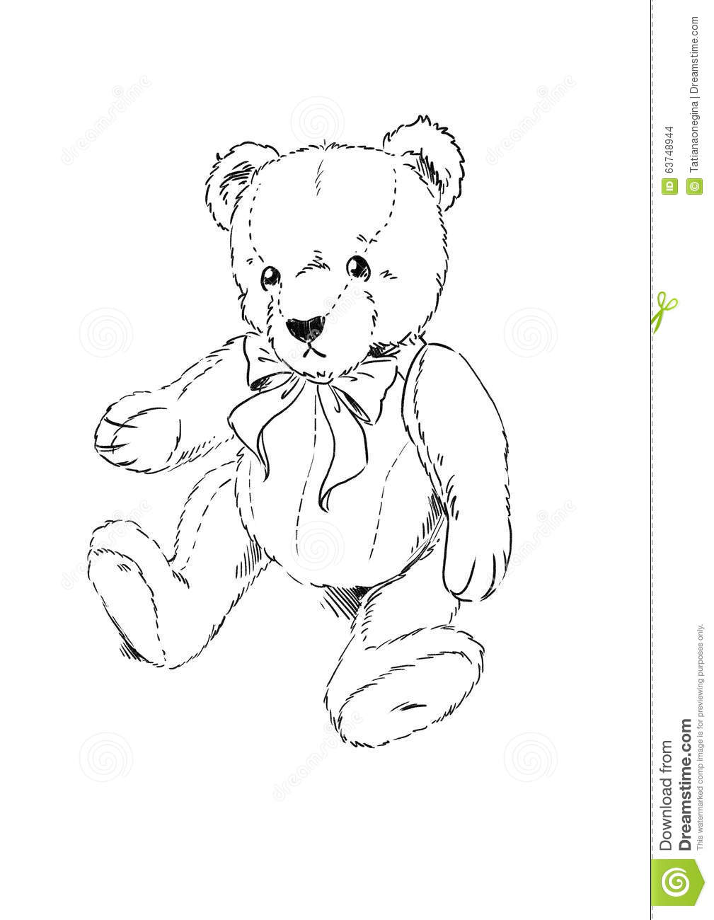 Teddy Bear Coloring Page Stock Illustration Illustration Of Bear
