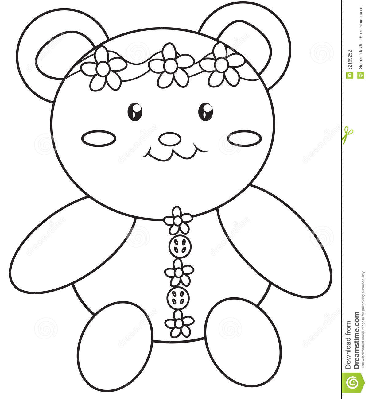 teddy bear coloring page stock illustration image 52169252