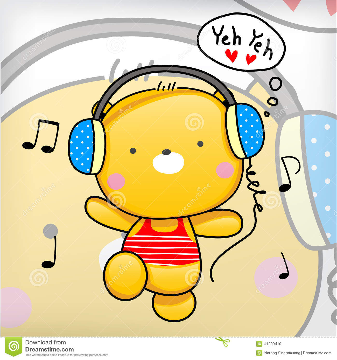 Teddy Bear Cute Exercise With Music  Stock Vector