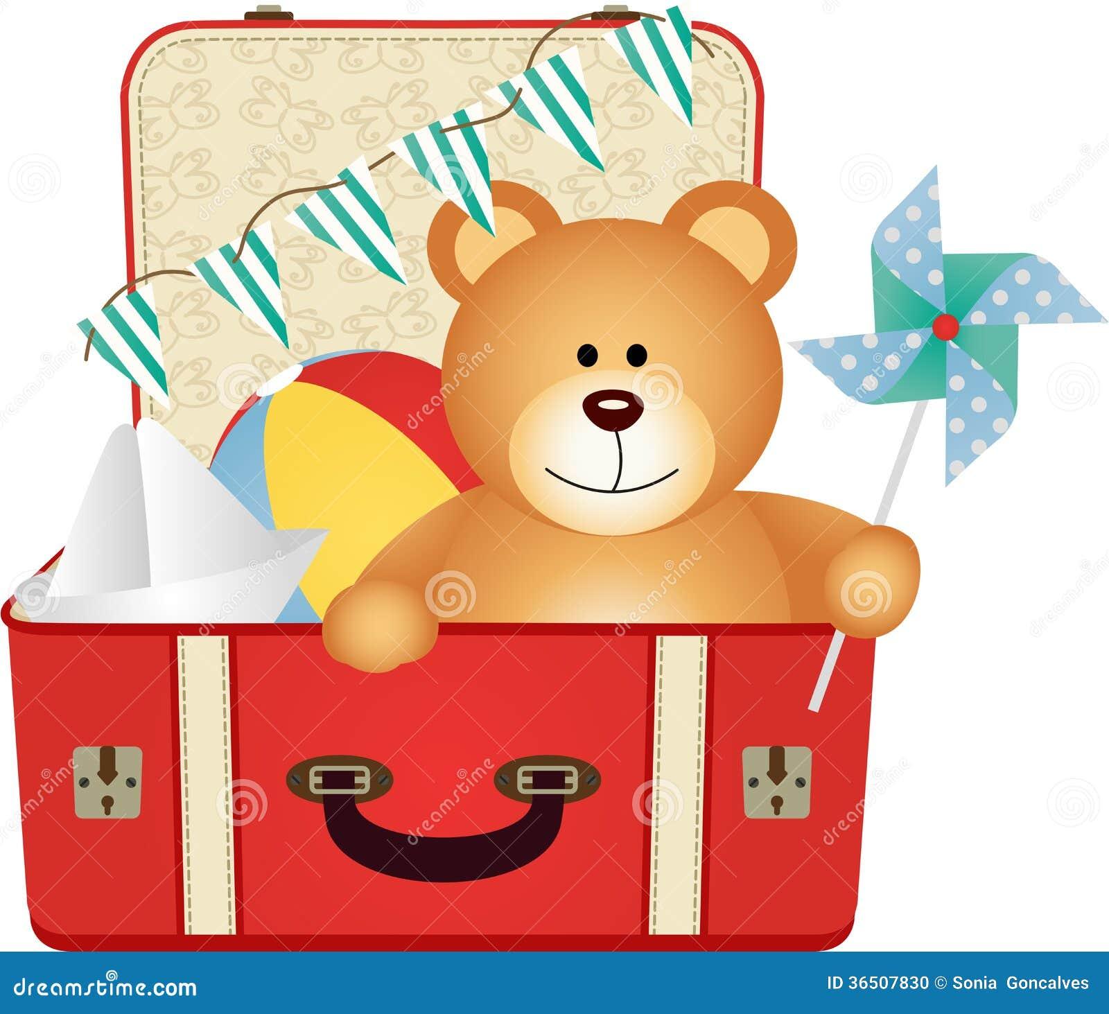 Teddy Bear dans la valise de jouets