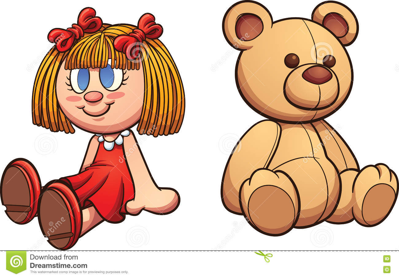 Teddy bear and doll