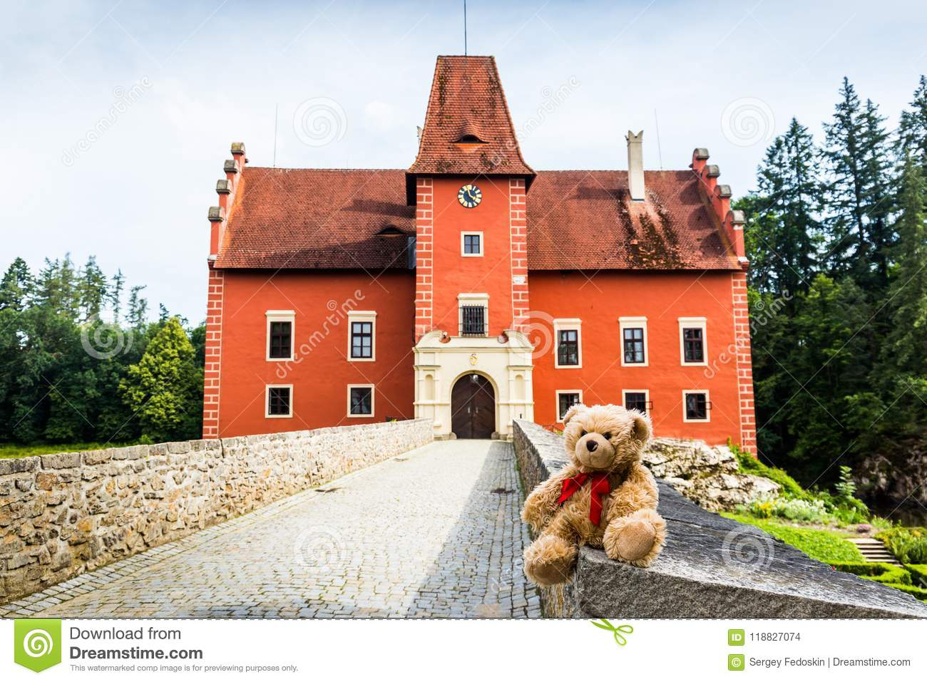 Teddy bear Dranik near Cervena Lhota castle.