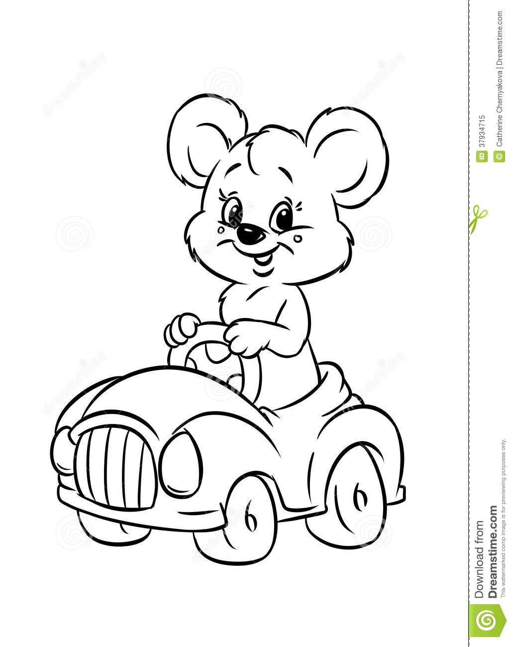 Teddy Bear Driver Car Coloring Pages Stock Illustration