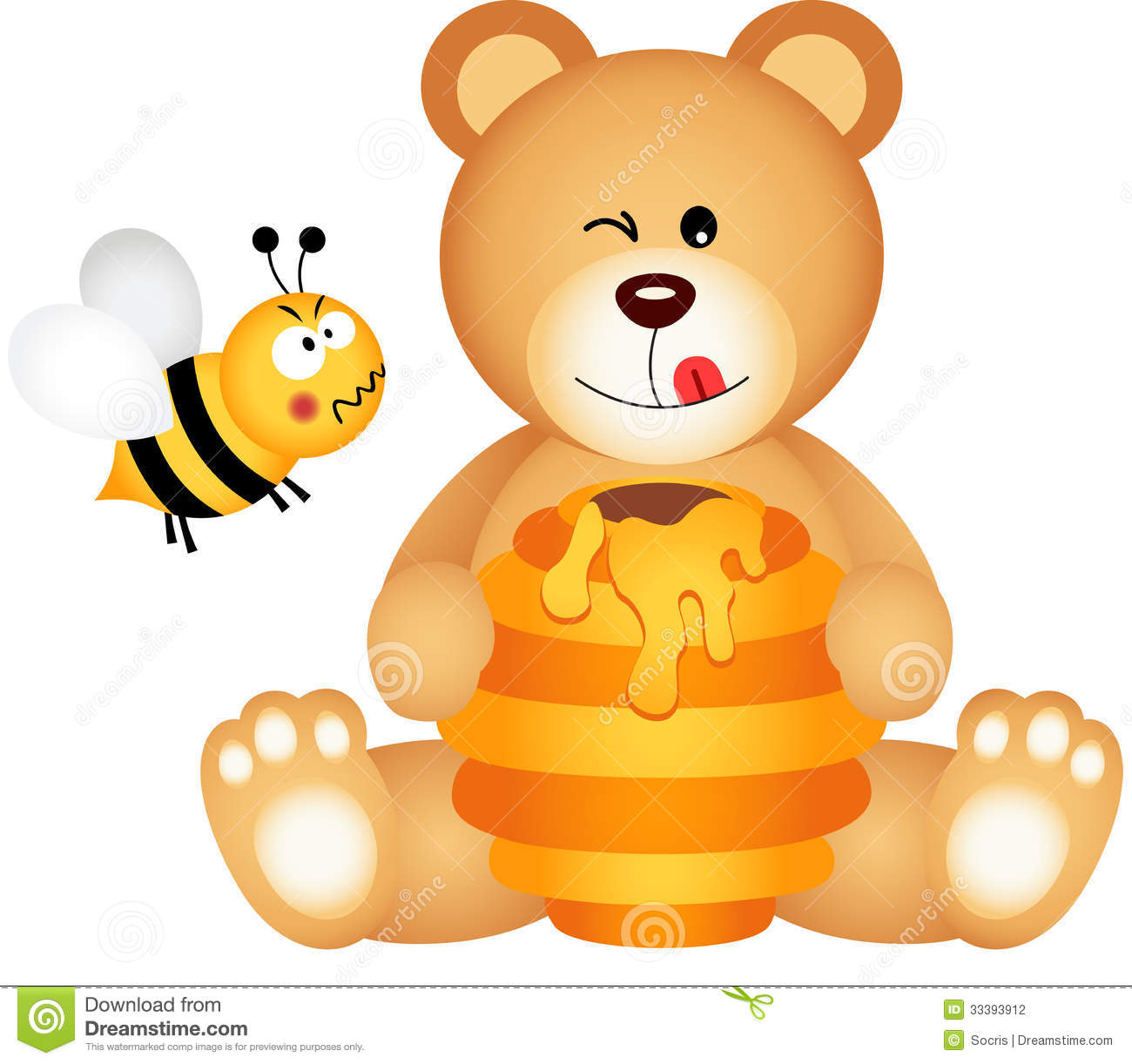Scalable Vectorial Image Representing A Teddy Bear Eats Honey And Bee