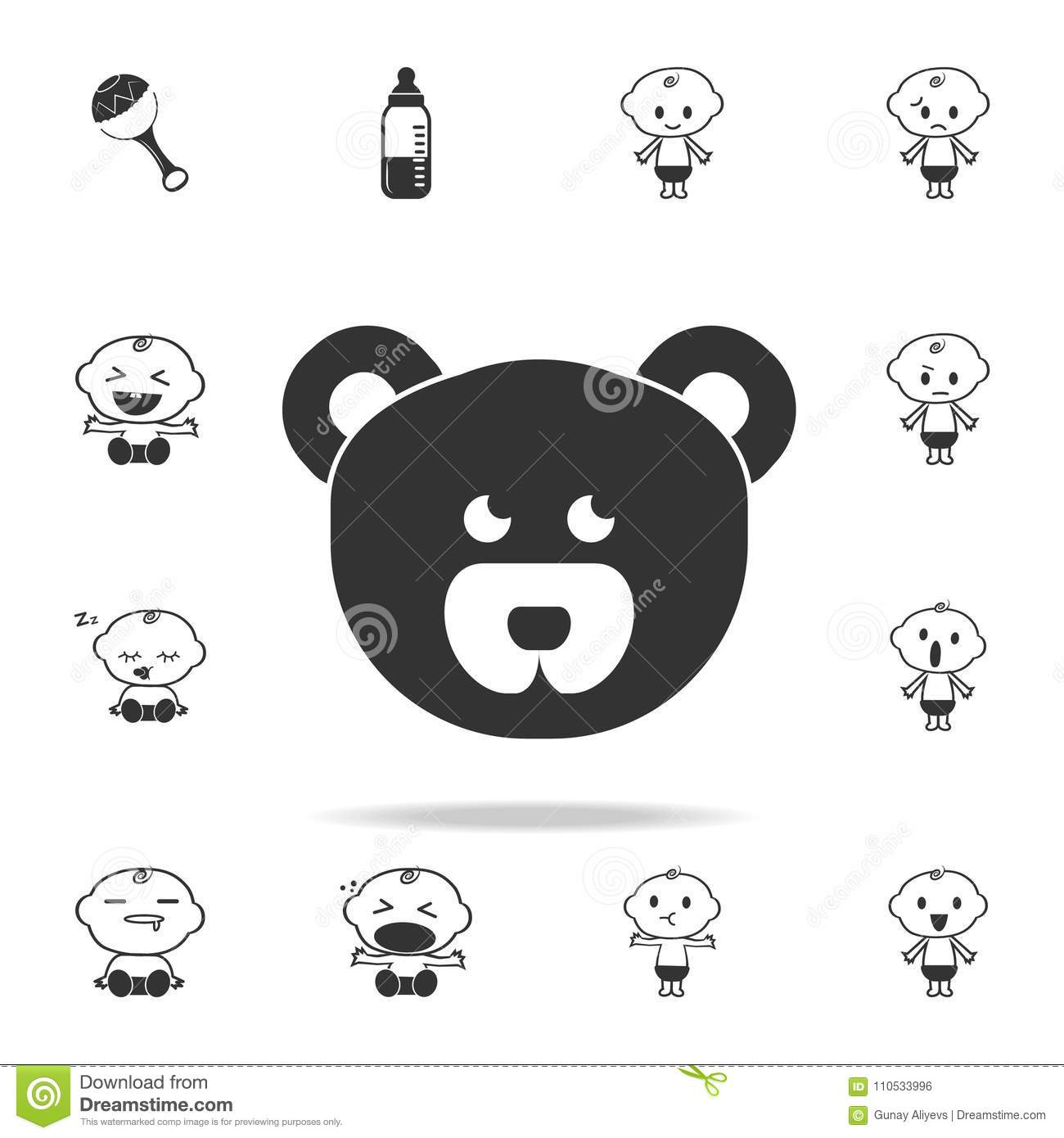 Teddy Bear Face Icon  Set Of Child And Baby Toys Icons  Web Icons