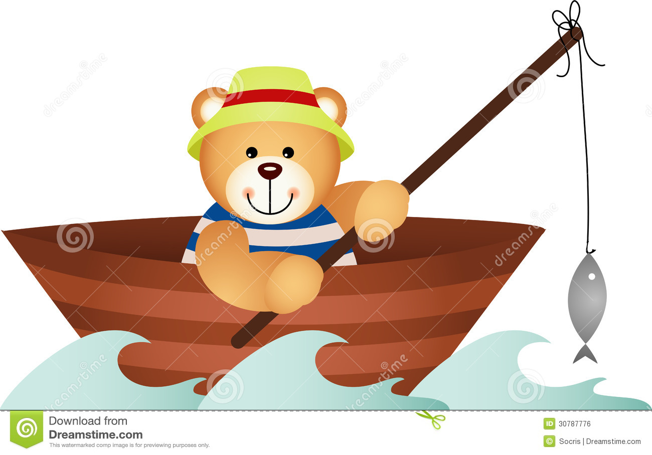 Teddy Bear Fishing In A Boat Royalty Free Stock Image - Image: 30787776