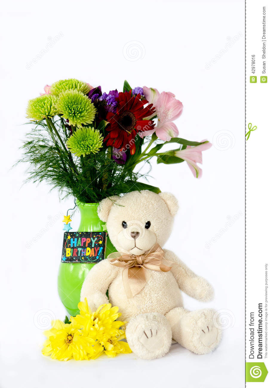 Teddy Bear And Flowers Stock Photo Image Of Flowers 42978016