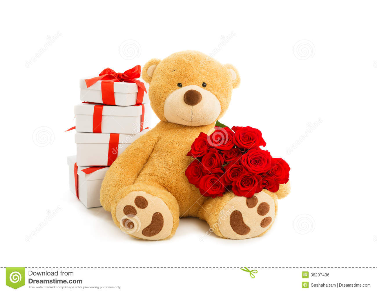 single on valentines day quotes images - Teddy Bear With Gift Box And Bouquet Red Roses Royalty
