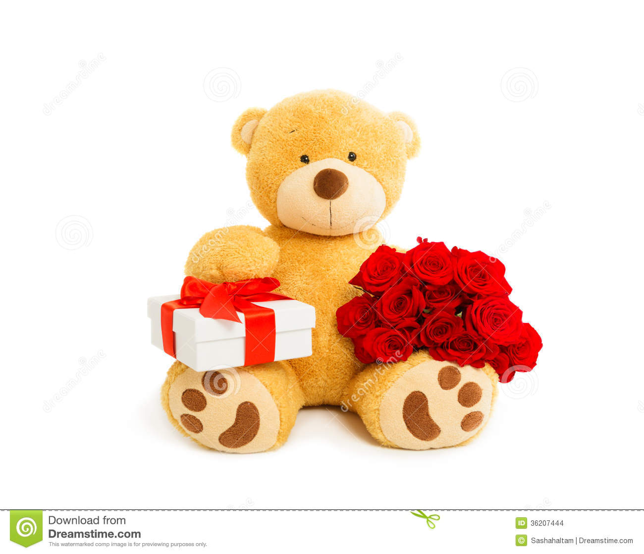 Teddy Bear With Gift Box And Bouquet Of Red Roses Stock