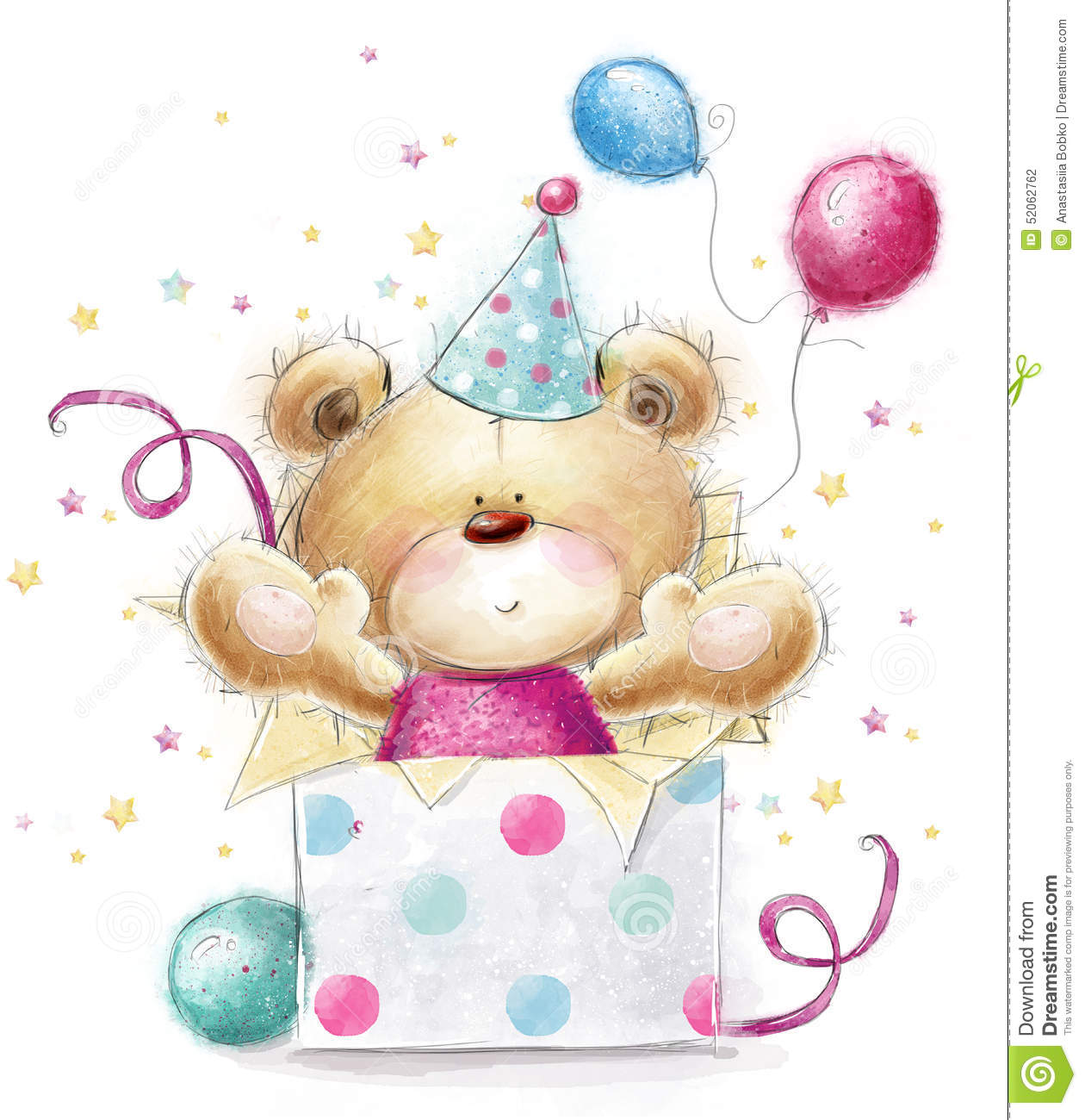 Teddy Bear With The Gift Happy Birthday Card Stock
