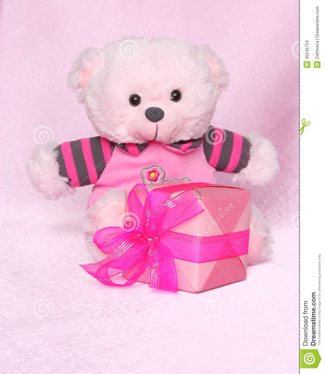 Teddy Bear With Gift Valentines Day Stock Photos Stock