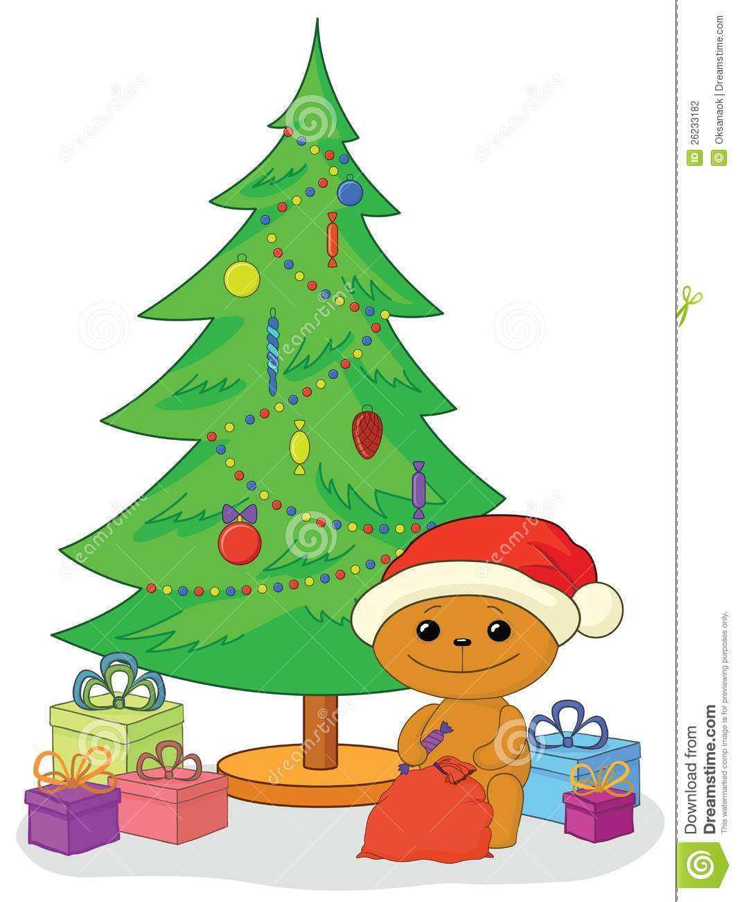 Presents Under The Christmas Tree: Teddy Bear, Gifts And Christmas Tree Stock Photography