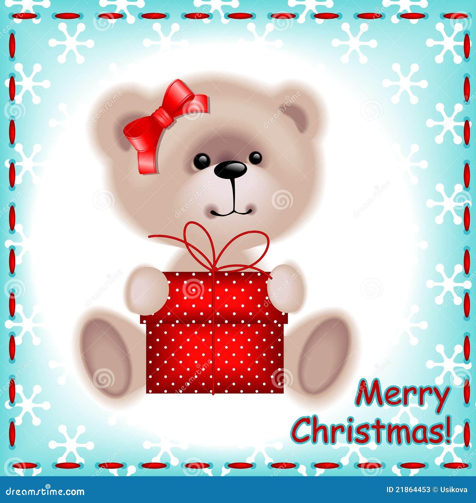 Teddy Bear Girl With A Christmas Gif Stock Photos Image