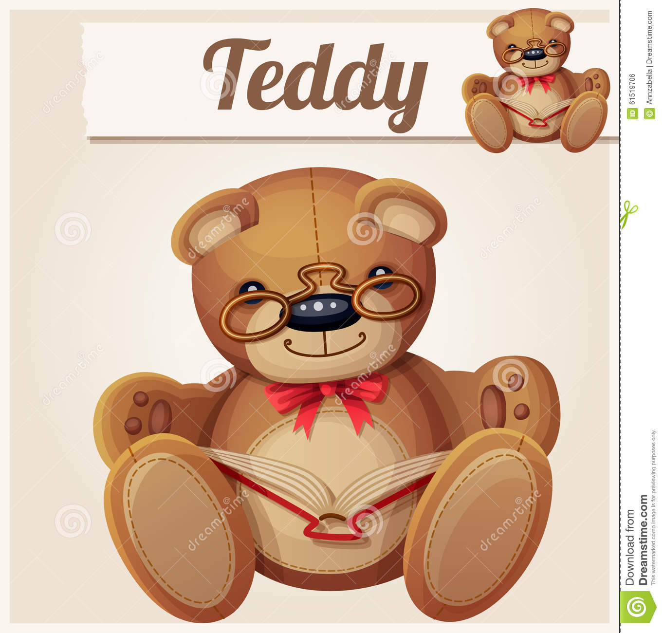 Teddy Bear In Glasses Read The Book Stock Vector