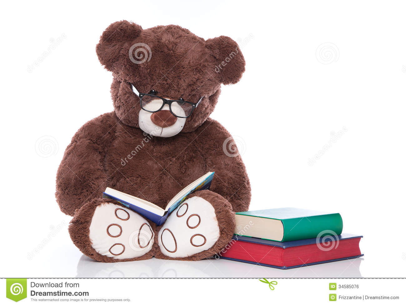 e8c9b08cedc Teddy Bear With Glasses Reading Stories For Christmas - Isolated ...