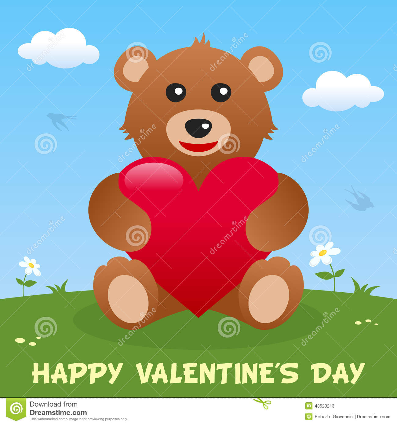 Teddy Bear Happy Valentine S Day Card Vector Image 48529213 – Teddy Bear Valentines Day Card