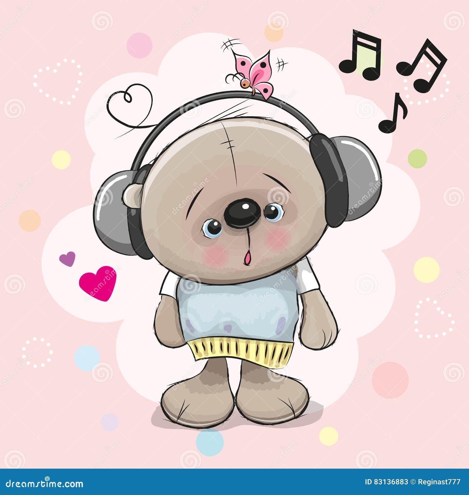 Teddy Bear with headphones stock vector. Illustration of ...