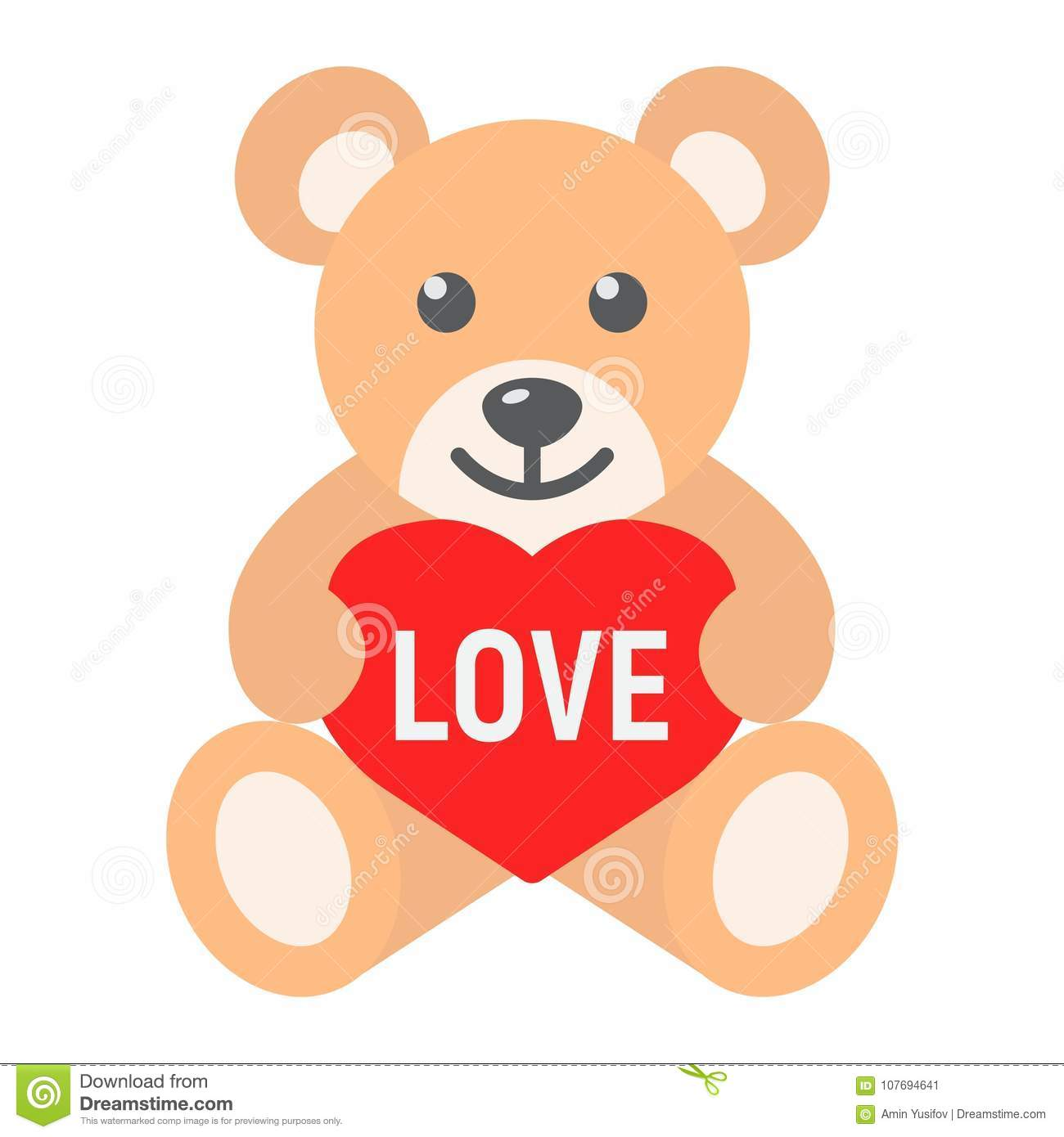teddy bear with heart flat icon valentines day stock vector