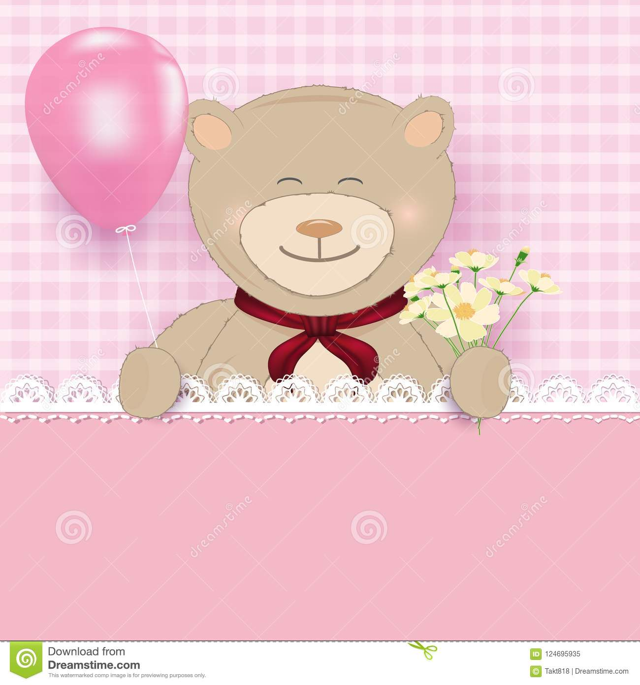 Teddy Bear Holding Balloon And Cosmos Flower On Pink Background