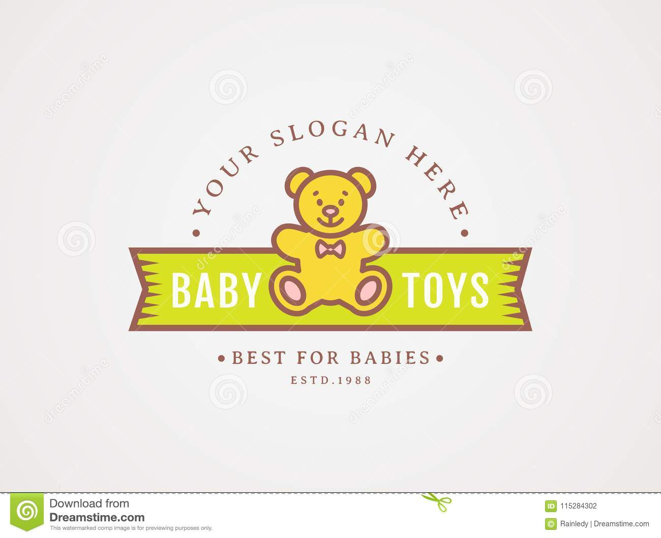 Teddy Bear Logo Vector Symbol For Baby Toys Store Stock Vector