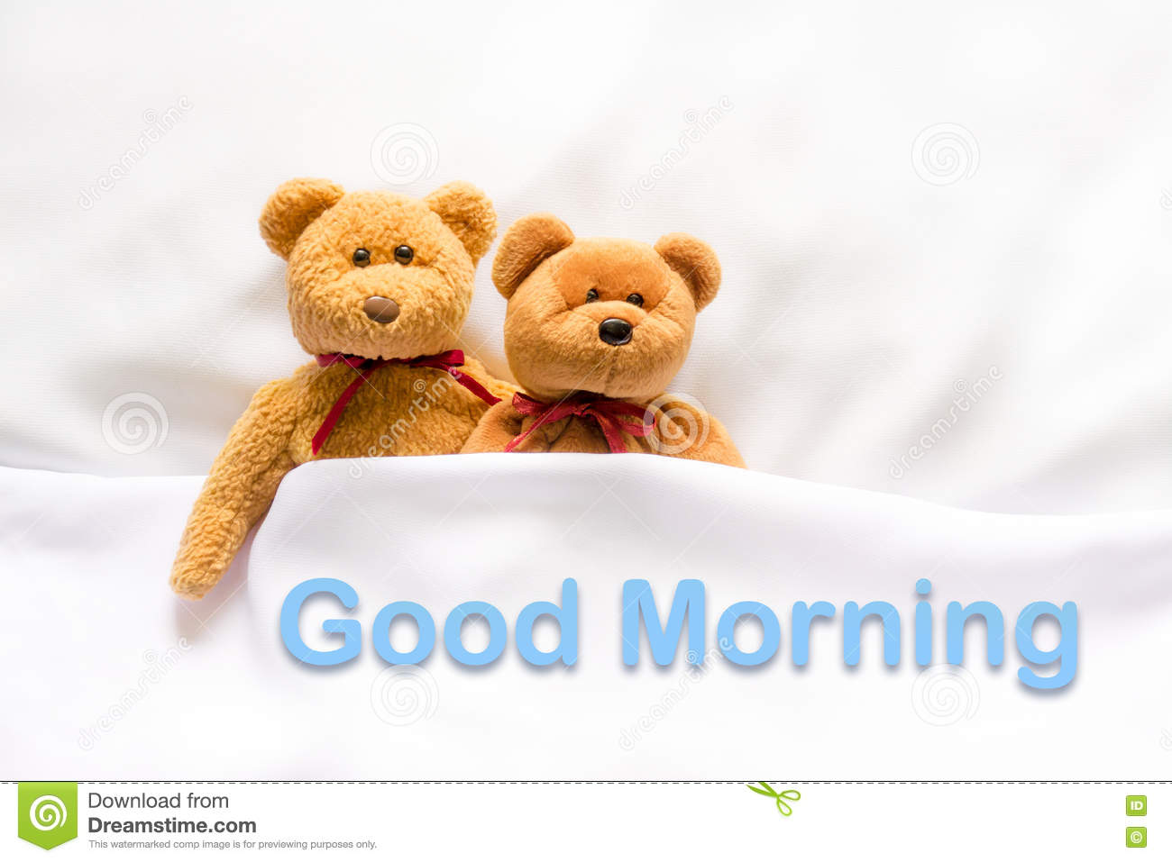 Teddy Bear Lying In The White Bed With Message Good Morning