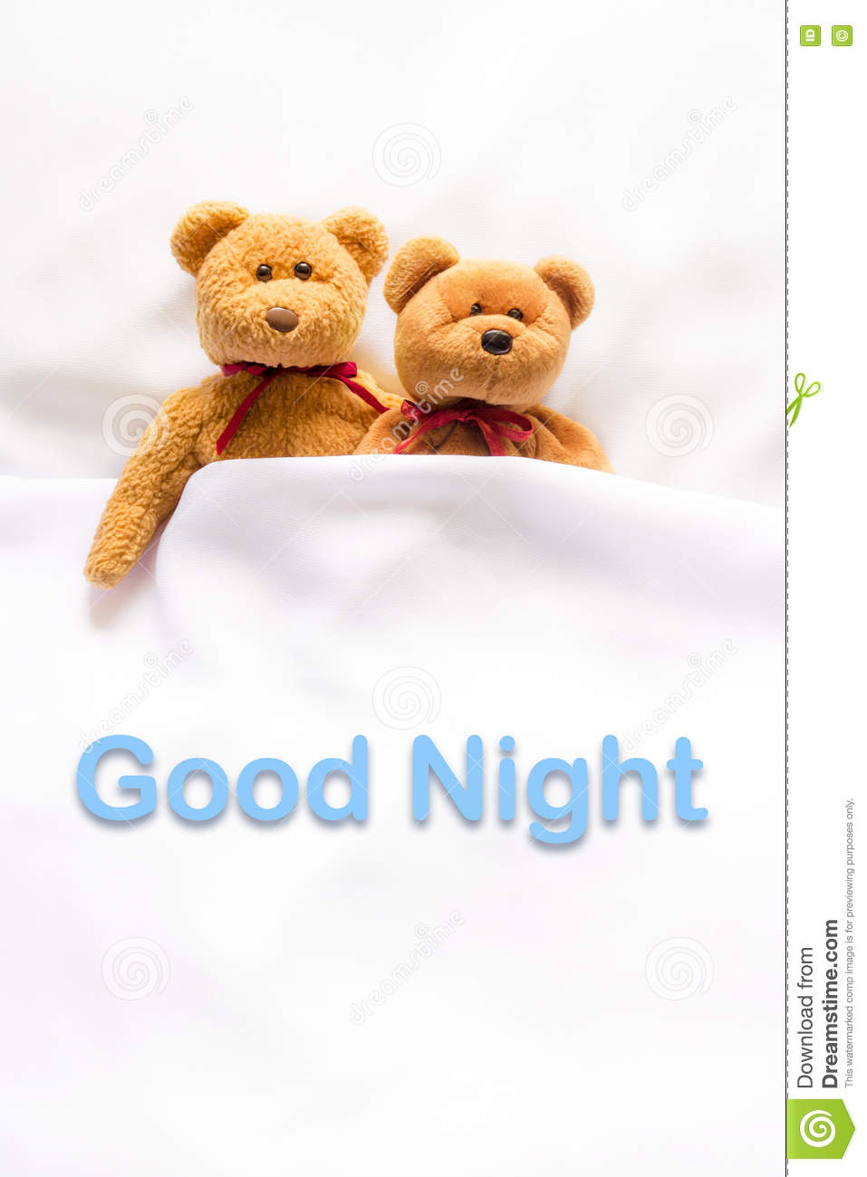 Teddy Bear Lying In The White Bed With Message Good