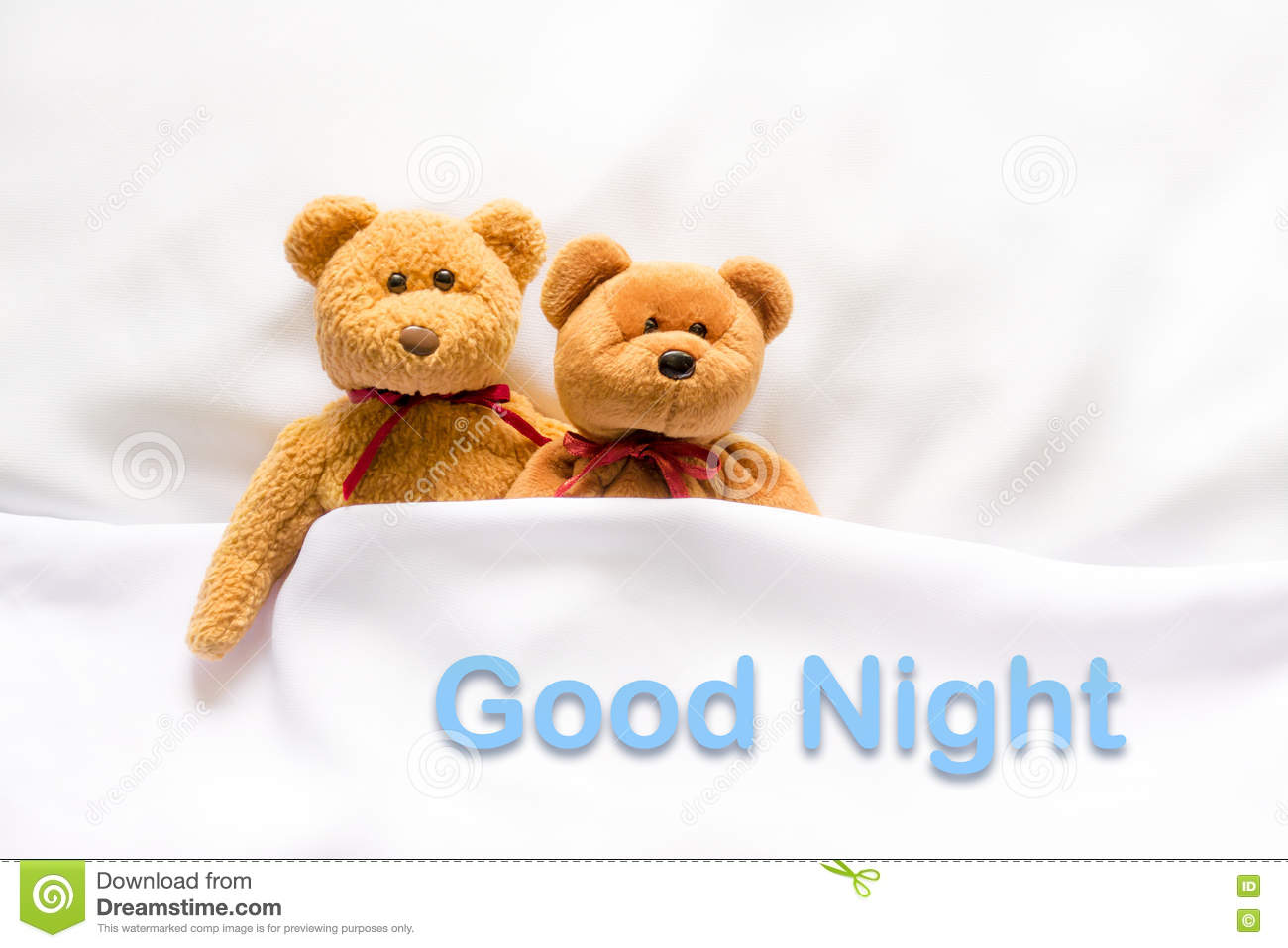 """Teddy Bear Lying In The White Bed With Message """" Good ..."""