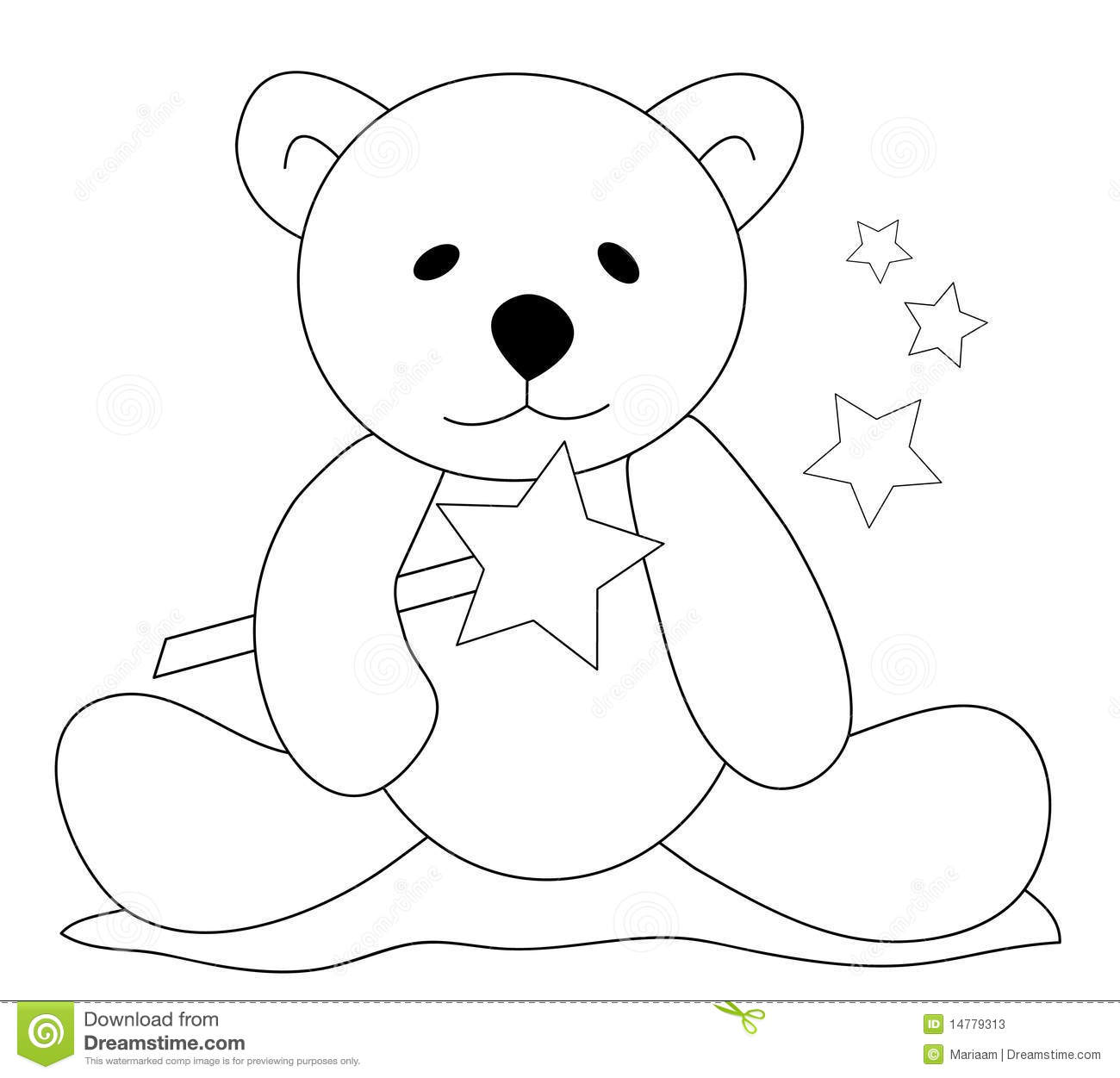 Black & white sketch of a teddy bear sitting on the ground and holding ...