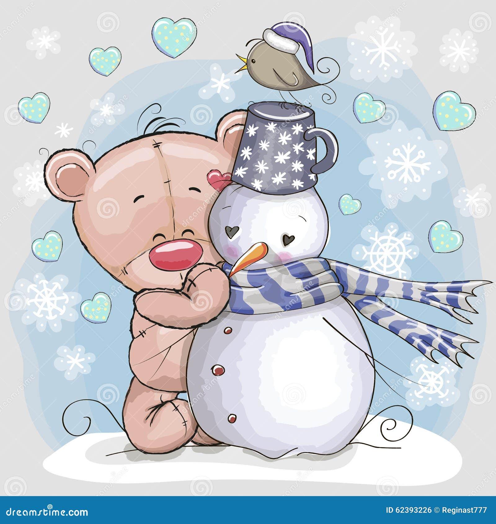 Teddy Bear och snögubbe